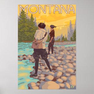 Pesca con mosca de las mujeres - Montana Póster