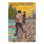 Pesca con mosca de las mujeres - río de la galatin posters