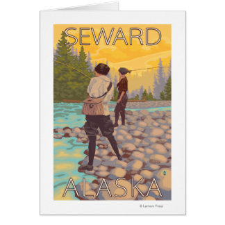 Pesca con mosca de las mujeres - Seward Alaska Felicitación