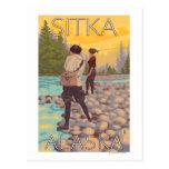 Pesca con mosca de las mujeres - Sitka, Alaska Tarjetas Postales
