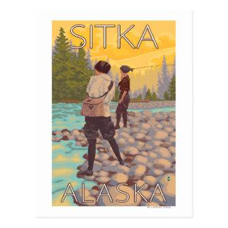 Pesca con mosca de las mujeres - Sitka Alaska Tarjetas Postales