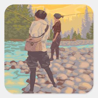 Pesca con mosca de las mujeres - Troutdale Oregon Calcomania Cuadradas Personalizadas