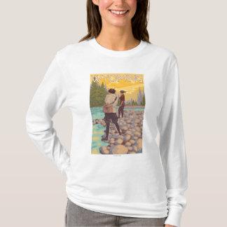 Pesca con mosca de las mujeres - Wyoming Playera