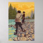 Pesca con mosca de Oregon - poster del viaje del v