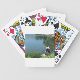 Pesca con mosca del hombre en un lago de la baraja de cartas bicycle