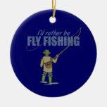 Pesca con mosca del río en aves zancudas ornaments para arbol de navidad