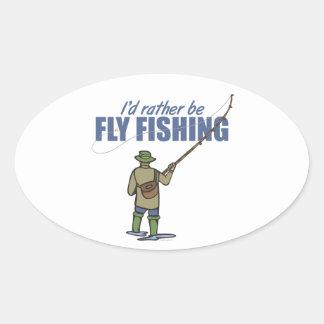 Pesca con mosca en aves zancudas pegatina ovalada