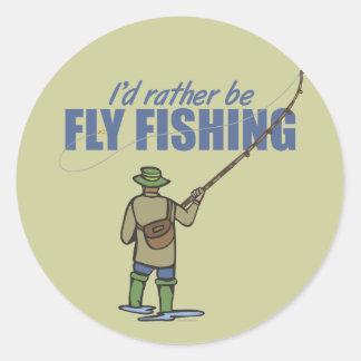 Pesca con mosca en aves zancudas pegatina redonda