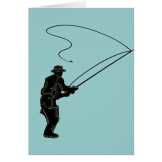Pesca con mosca en aves zancudas tarjeta de felicitación