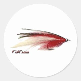 Pesca con mosca en su mejor etiqueta redonda