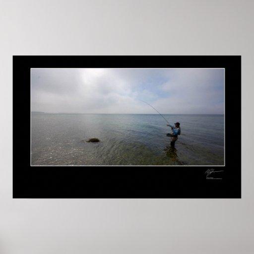 Pesca con mosca la costa danesa poster
