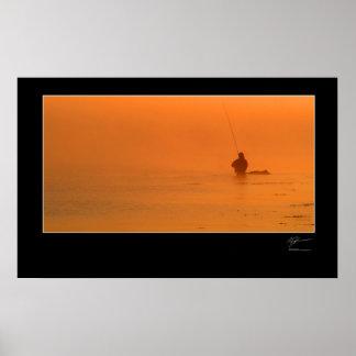 Pesca con mosca la costa danesa póster