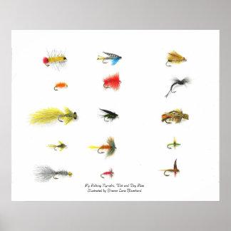 Pesca con mosca, ninfas de la pesca con mosca, la  posters