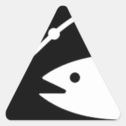 pesca consiguiendo una mordedura colcomanias de triangulo