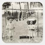 Pesca de 1890 chicas pegatina cuadradas personalizadas
