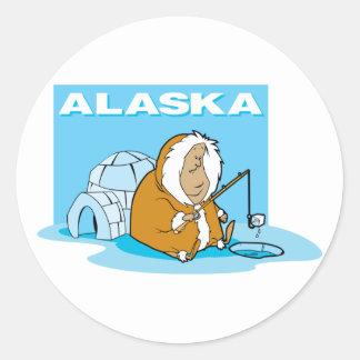Pesca de Alaska Pegatina Redonda