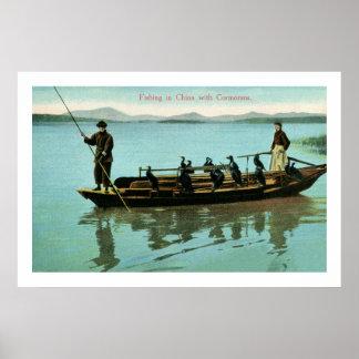 Pesca de China del vintage con los cormoranes Posters