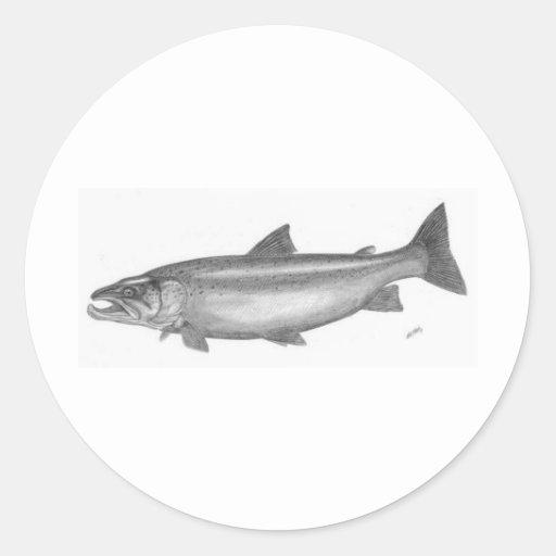 Pesca de color salmón pegatina redonda
