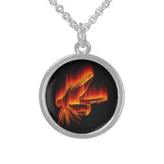 Pesca de diseño de la llama de la mosca collar de plata esterlina