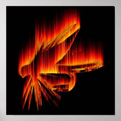 Pesca de diseño de la llama de la mosca póster