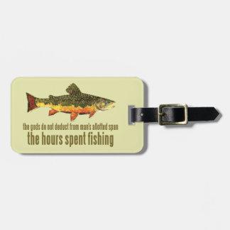Pesca de encargo de la trucha etiquetas para equipaje
