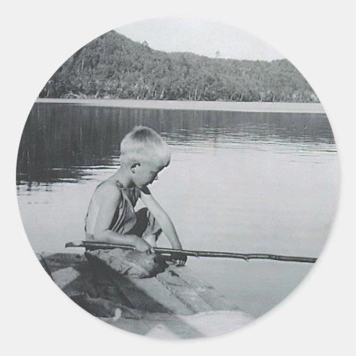 pesca de la barreta etiquetas redondas