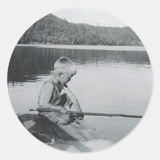pesca de la barreta pegatina redonda