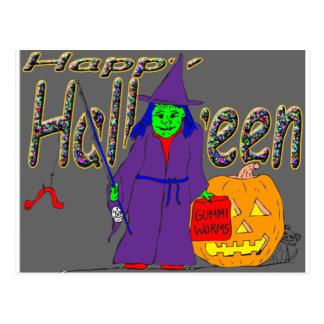 pesca de la bruja de s8 Halloween con los gusanos Tarjeta Postal