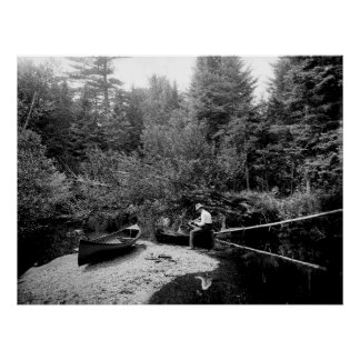 Pesca de la canoa de Adirondack Póster