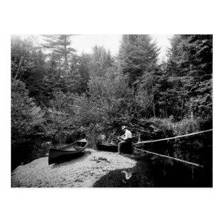 Pesca de la canoa de Adirondack Tarjetas Postales