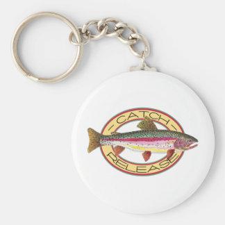 Pesca de la captura y del lanzamiento de la trucha llavero
