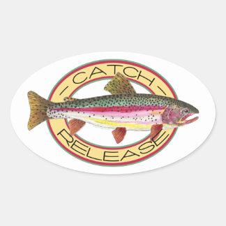 Pesca de la captura y del lanzamiento de la trucha pegatina ovaladas personalizadas