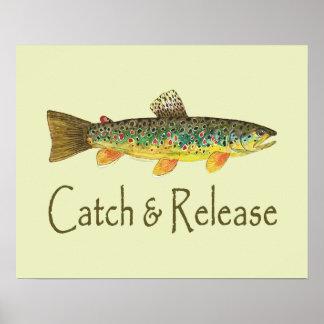 Pesca de la captura y del lanzamiento poster