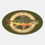 Pesca de la captura y del lanzamiento pegatina oval personalizadas