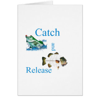 Pesca de la captura y del lanzamiento tarjeton