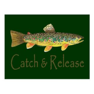 Pesca de la captura y del lanzamiento tarjetas postales