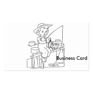 Pesca de la chica joven tarjetas de visita