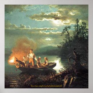 """Pesca de la familia de Vintage-1851-nightime por  Posters"