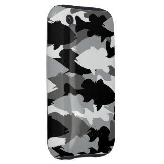 Pesca de la lubina Camo negro iPhone 3 Tough Carcasas