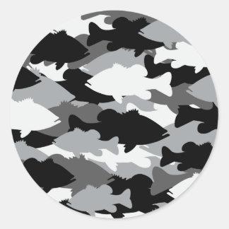 Pesca de la lubina Camo negro Pegatina Redonda