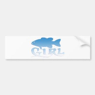 PESCA DE LA LUBINA DEL CHICA PEGATINA PARA AUTO