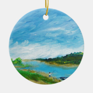 Pesca de la playa - acrílico ornamentos de navidad