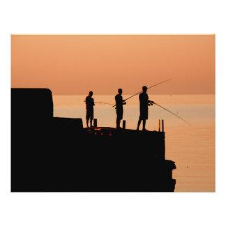 Pesca de la puesta del sol tarjetas informativas