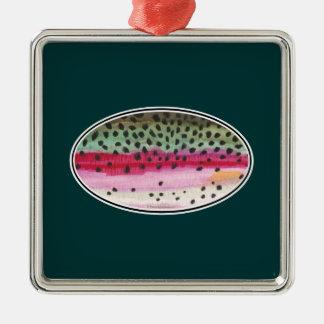 Pesca de la trucha arco iris adorno cuadrado plateado