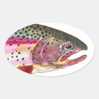 Pesca de la trucha arco iris pegatina ovalada