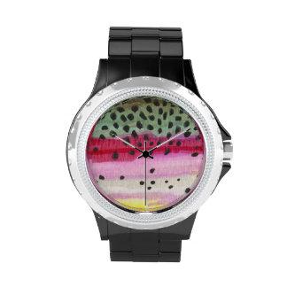 Pesca de la trucha arco iris reloj de mano