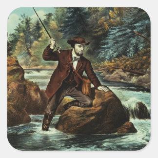 Pesca de la trucha de arroyo - un momento ansioso, pegatina cuadrada