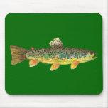 Pesca de la trucha de Brown Mouse Pads