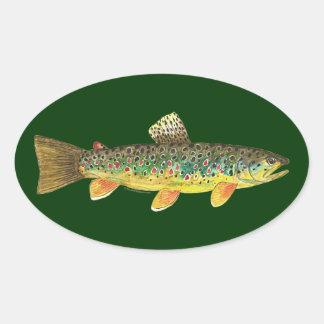 Pesca de la trucha de Brown Pegatina Ovalada