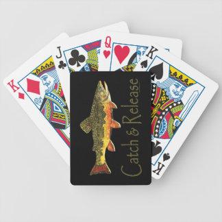 Pesca de la trucha de la captura y del lanzamiento baraja de cartas